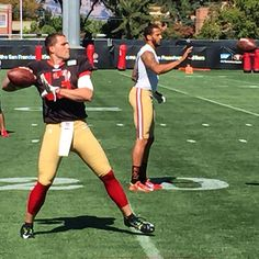 """""""Rookie QB Dylan Thompson & incumbent Colin Kaepernick at #49ers practice today, 3 days shy of exhibition opener"""""""