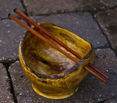 Custom Made Spalted Maple Rice Bowl With Ebony Tipped Bubinga Chopsticks