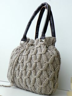Knitted tote handbag Beige Melange Knit Bag Handbag  by NzLbags, $155.00