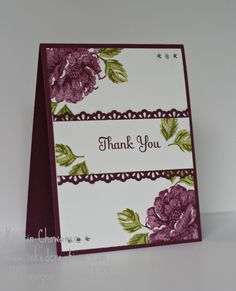 Wedding Thanks with Stippled Blossoms in Raspberry Ripple.  Card design from inkedcreations.com