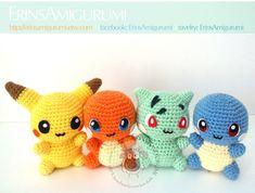 Little Chibi Pokemon Amigurumi Pokemon Crochet Pattern, Pikachu Crochet, Kawaii Crochet, Crochet Toys Patterns, Crochet Patterns Amigurumi, Cute Crochet, Crochet Crafts, Crochet Dolls, Yarn Crafts