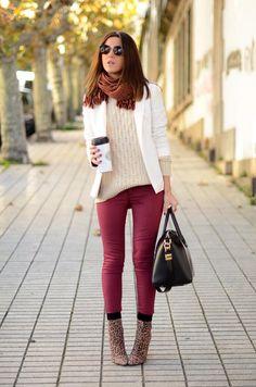 Shop this look on Kaleidoscope (blazer, sweater, pants, bootie, sunglasses)  http://kalei.do/WVQaWCK2gFaydXKE