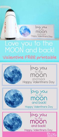 Love you to the MOON and BACK! {FREE VALENTINE PRINTABLES!} Featured on Designdazzle.com