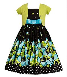 Bonnie Jean Black, Black/Green Butterfly Border Dress-Sweater Set, Little Girls Special Occasion Party Dress Little Girl Outfits, Little Girl Fashion, Little Girl Dresses, Kids Outfits, Kids Fashion, Baby Girl Dresses, Baby Dress, Butterfly Print Dress, Green Butterfly
