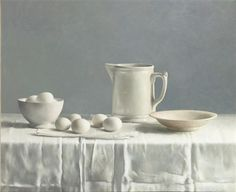 A still life with jug and eggs by Henk Helmantel
