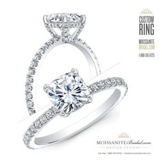 engagement ring cushion Cushion Cut Moissanite and Diamond Custom Engagement Ring Engagement Rings Channel Set, Pear Cut Engagement Rings, Tacori Engagement Rings, Engagement Ring Shapes, Cushion Cut Engagement Ring, Designer Engagement Rings, Solitaire Engagement, Gold Diamond Wedding Band, Wedding Bands