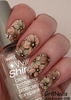 Started with white base coat, Stamped flowers using Pueen Encore plate 04B and colored them in with watered down acrylic paint. - Nailpolis: Museum of Nail Art
