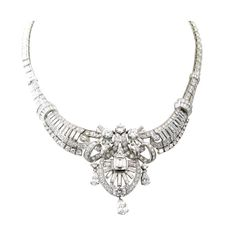 A Fabulous Art Deco Platinum and Diamond Necklace. | From a unique collection of vintage drop necklaces at http://www.1stdibs.com/jewelry/necklaces/drop-necklaces/