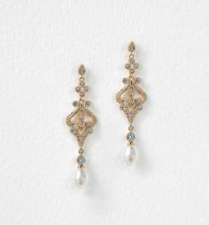 Deco Gold Pearl Drop Earrings