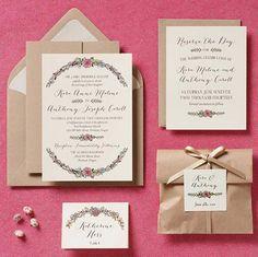 Dicas de convites de casamento vintage rosa e marrom com envelope