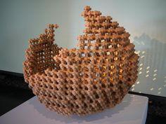 geometric clay sphere sculpture