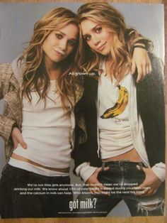 Mary Kate and Ashley Olsen, Got Milk?  Full Page Promotional Ad, Twins