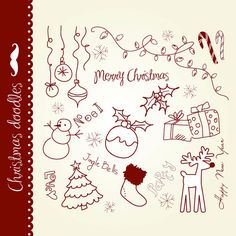 Christmas doodles clip art hand drawn elements by GraphicMarket, $4.99