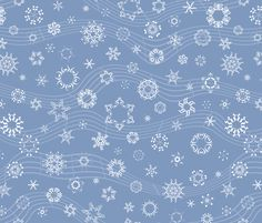 wind-blown musical snowflakes on frosty blue fabric by weavingmajor on Spoonflower - custom fabric