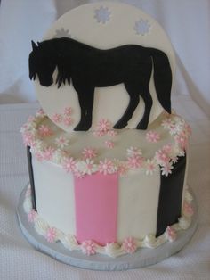 Silhouette Horse Cake cake, vanilla frosting, fondant accents and horse is fondant/tylose. The mother was very happy with the cake. Cowgirl Cakes, Western Cakes, Cupcakes, Cupcake Cakes, Horse Birthday Parties, Cake Birthday, First Communion Cakes, Paris Cakes, Horse Cake