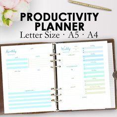 Productivity Planner PDF, Printable Productivity Planner for Binder, Filofax, A5, A4, Weekly Monthly Planning https://www.etsy.com/listing/526986297/