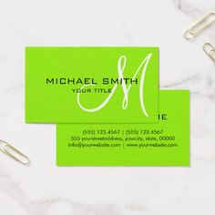 Professional elegant monogram plain green business card green business reheart