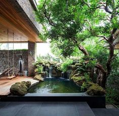 Pond Design, Small Garden Design, Small Fish Pond, Small Tropical Gardens, Clearance Outdoor Furniture, Pergola, Garden Solutions, Garden Waterfall, Pool Picture