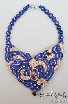 """""""She's completely unexplainable...""""  Unique handmade soutache necklace  Blue/Beige"""