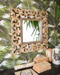 Specchio quadrato legno intarsiato