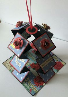 I've seen similar w/ coil Pop Up Box Cards, 3d Cards, Cool Cards, Fancy Fold Cards, Folded Cards, Karten Diy, Craftwork Cards, Interactive Cards, Shaped Cards