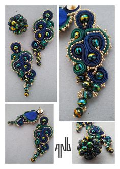 Handmade ANU Jewelry Soutache Earrings Pendant Blue Green Golden