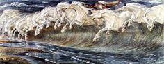 Walter Crane's Horses of Neptune, 1892 this is in a beautiful collection of mystical and magical paintings in book The Dreamers of Decadence