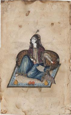 Woman seated on a carpet, Qadjar 19th.