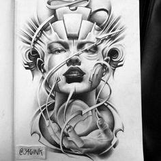 Girl Face Tattoo, Girl Face Drawing, Big Tattoo, Girl Tattoos, Chicano Art Tattoos, Body Art Tattoos, Sleeve Tattoos, Tattoo Sketches, Tattoo Drawings