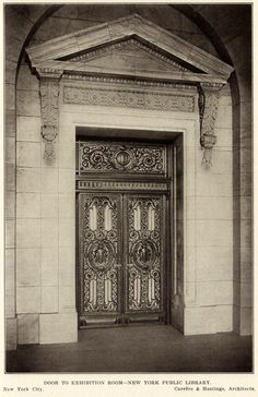 The doors to the Exhibition Room of the Public Library, New York City