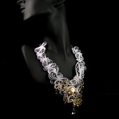 Soutache elegant necklace, bridal evening glamour. zł1,820.00, via Etsy.