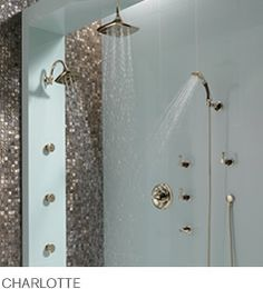 Modern shower using copper brown mother of pearl tile.  https://www.subwaytileoutlet.com/products/Coffee-Pearl-Shell-Tile.html#.Vt9RVfkrLIU