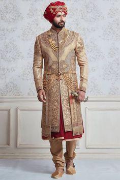 Shop Dark beige silk wedding wear sherwani online from India. Sherwani For Men Wedding, Wedding Dresses Men Indian, Groom Wedding Dress, Sherwani Groom, Wedding Wear, Punjabi Wedding, Desi Wedding, Indian Weddings, Wedding Suits