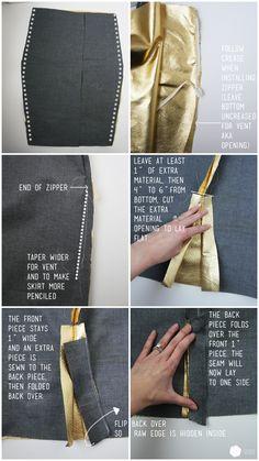 DIY metallic pencil skirt http://www.cottonandcurls.com/2013/10/diy-metallic-pencil-skirt/