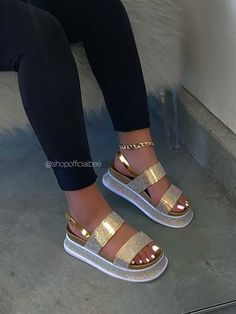 SIZE Heel Height Approx: DETAILS Double Rhinestone Straps Back Strap and Buckle Closure Rhinestones Around Sole Iridescent Rhinestones Chunky Sole True to Size Bling Sandals, Glitter Sandals, Boho Sandals, Sandals Outfit, Cute Sandals, Pink Heels, Shoes Heels, Fluffy Shoes, Shoes World