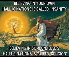 Believing in your own hallucinations is called 'insanity. Believing in someone else's hallucinations is called 'religion'. Atheist Humor, Athiest, Burning Bush, Anti Religion, Funny Jokes For Adults, Gods And Goddesses, Believe In You, Common Sense, Funny Shit
