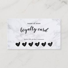 Black Heart White Marble Customer Loyalty Card Beauty Business Cards, Salon Business Cards, Hairstylist Business Cards, Professional Business Cards, Business Card Design, Professional Makeup, Business Ideas, Business Essentials, Business Inspiration