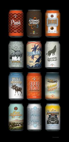 Bunch of faux beer can designs by Charles Chamberlin, via Behance #packaging fun : ) PD