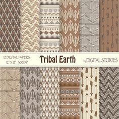 """Tribal Digital Paper: """"TRIBAL EARTH"""" with tribal patterns, in brown, beige, gray earthtones, for scrapbooking, invites - Buy 2 Get 1 Free on Etsy, $3.67"""