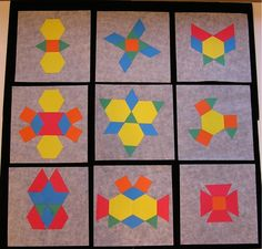 Here's a post with a number of ideas for using pattern blocks to teach symmetry.  ( I used to do these to make a class quilt for citizenship with paper cut out pattern block pieces)