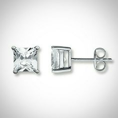 Princess Cut White Sapphire Studs Lab-created white sapphires set in sterling silver. Friction backs. Kay Jewelers Jewelry Earrings