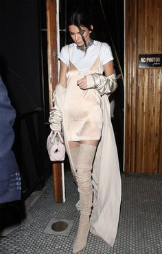 kendall-jenner-tshirt-under-dress-street-style Tees under slips
