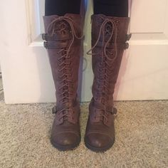 Tall combat boots Really cute, gently worn Charlotte Russe Shoes Combat & Moto Boots