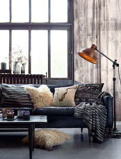 Warm industrial, industrial interior design, throw pillows, modern room