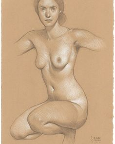 Preparatory Sketch No. 1 for a Painting of Leah 3B pencil and white Prismacolor…