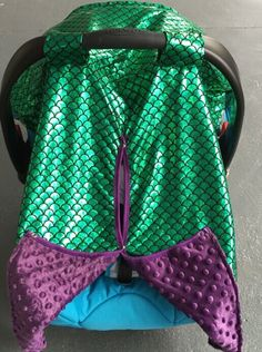 Cotton printed fabric with soft Minky fabric inside. Velcro straps to attach to carseat. Front opening with snaps. **The green fabric is not shiny. See the picture for the live pictire. These doub Mermaid Baby Showers, Baby Mermaid, Baby Ariel, Mermaid Nursery, Girl Nursery, Mermaid Room, Baby Shower Gifts, Baby Gifts, Future Baby