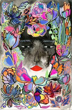 """Lydia Fu """"Fragrant Sneak"""" Ink, watercolor, and gouache on watercolor paper. 2014"""