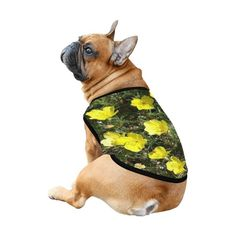 Yellow Flowers All Over Print Pet Tank Top | ID: D5882440 Pet Gifts, Yellow Flowers, French Bulldog, Tank Tops, Pets, Animals, Halter Tops, Animales, Animaux