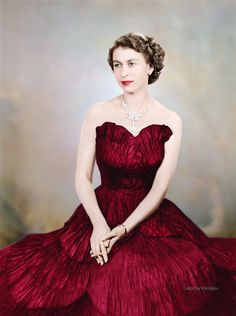 Queen Elizabeth II -- obviously colored, the original is in black and white.