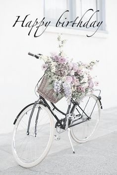 Ideas for road bike white bicycles Birthday Messages, Happy Birthday Wishes, Birthday Greetings, It's Your Birthday, Happy Birthday Bicycle, Birthday Pictures, Birthday Images, Bike Photography, Photography Flowers